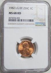 1982 Lincoln Memorial Cent/penny - Zinc - Large Date - Ngc Ms 68 Rd 4-002
