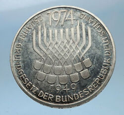 1974 Germany 25 Years Of German Federal Constitution Law Silver 5 Mark I68965