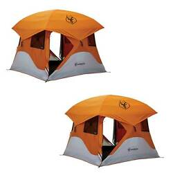 Gazelle T4 94x94 4 Person Pop Up Camping Hub Tent W/ Removable Floor 2 Pack