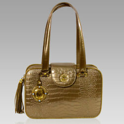 Valentino Orlandi Italian Designer Bronze Croc Embossed Leather Purse Boxy Bag