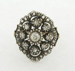 Antique Victorian Old Mine Rose Cut Diamond Silver 18k Yellow Gold Ring