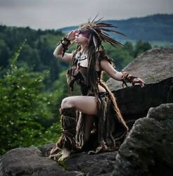 Cave Women Shaman Costume Barbarian Burning Man Fur Leather Cosplay Headdress