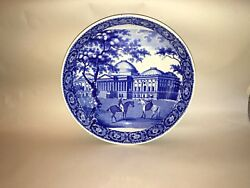 Historical Staffordshire Dark Blue Potato Bowl Capital Washington Ridgway 1825