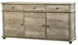 68 Long Wanda Sideboard Reclaimed Solid Wood Distressed Finish Brass Accents
