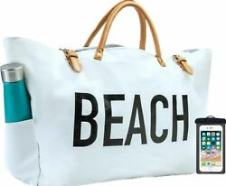 PACO Large Canvas Beach Bag Travel Tote (White) Waterproof Lining 3 Poc... New