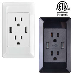 Electrical Outlet Panel Wall Plug Socket Ac Power Receptacle 2-usb Ports Charger