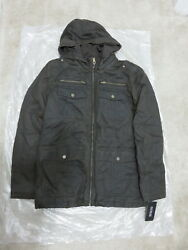 New Guess - Antique Finish Hooded Jacket Coat Brown Size M