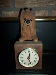 CARVED WOODEN SCOTTISH TERRIER   WITH ATTACHED CLOCK
