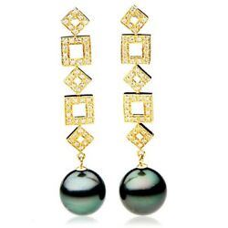 Brand New Pacific Pearlsandreg Tahitian 14mm Genuine Pearl Earrings Gift For Yourself