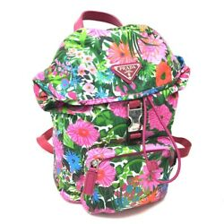 AUTHENTIC PRADA Botanical Design Backpack Bag Pink Nylon BZ0025