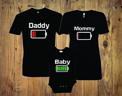 Battery Family Matching T-Shirts Mommy daddy baby
