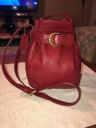 COACH VINTAGE SMALL RED LEATHER CINCH SOHO BELTED BUCKET CROSSBODY BAG RARE 4156
