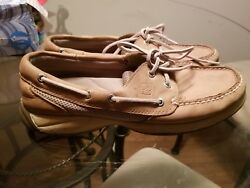 Men's Sperrys Top-sider Tan Brown Leather 2 Eyelet Tarpon Casual Boat Shoes 8m