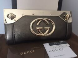 GUCCI METALLIC PEWTER SILVER LEATHER HANDBAG BAG PURSE EVENING CLUTCH RETAIL $