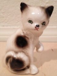 Vintage Ceramic CAT Figure Figurine White Brown with Green Eyes Made in Japan