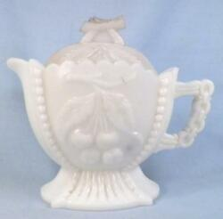 Westmoreland Grape And Cherry Creamer And Lid Milk Glass Eapg Antique As Is