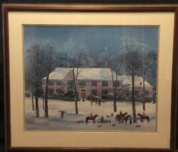 Michel Delacroix And039la Chasse Dand039hiverand039 Art Print Framed And Matted Under Glass Euc