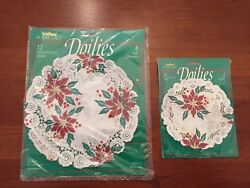 """2 Royal Lace Paper Doilies Vintage Holiday. 12"""" And 5"""". Poinsettia. Unopened."""