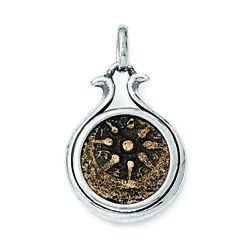 Sterling Silver And Bronze Antiqued Widows Mite Coin Pendant Qac101