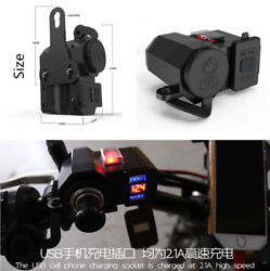 4.2a Dual Usb Motorcycle Handlebar Phone Charger Power Sockets + Voltage Meter
