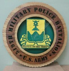 Us Army - 519th Military Police - Laser Cut 3d Wood Wall Tribute Plaque 11¼