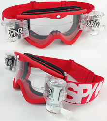 SPY OPTICS TARGA 3 MOTOCROSS MX GOGGLES RED DAWN with RNR TVS ROLL OFF SYSTEM