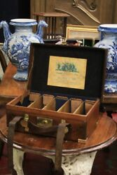 And039 Guns Pistols And Riflesand039 Suitcase English Leather Period And039800 / Antique