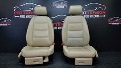 2008 AUDI A4 FRONT DRIVER & PASSENGER SEATS POWER HEATED LEATHER BEIGE NR