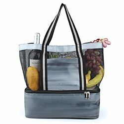 YONOVO Mesh Beach Tote Bag with CoolerLeak-proof Insulated with Even (Multi)