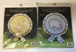 Lot of 2 Vintage CHICKEN SCRATCH KIT Le Pig Le Duck Cross Stitch Embroidery NEW