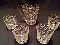 Hermes Crystal Water Jug / Pitcher And 4 Double Old Fashioned Tumblers Barware