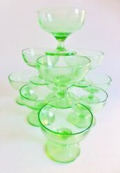 Vintage Green Depression Glass Sherbet Ice Cream Dishes Footed Plain Set Of 10