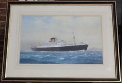 CUNARD WHITE STAR LINE RMS PARTHIA CHARLES TURNER OFFICIAL PORTRAIT WATERCOLOUR