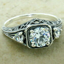 Art Deco 3 Stone Ring 925 Sterling Silver Cz Antique Finish Size 10  1168