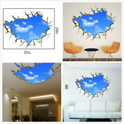US 3D Wall Stickers Sky Clouds Cartoon Room Decal Wallpaper Removable