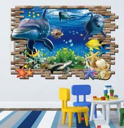 US 3D Wall Stickers The underwater world Sea Room Decal Wallpaper Removable