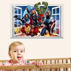 US 3D Wall Stickers The Avengers Cartoon Room Decal Wallpaper Removable