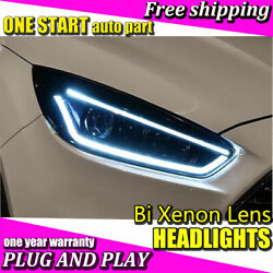 For Ford Focus 2015-2018 Headlights Bi-Xenon Lens HID KIT LED DRL Head Lamps