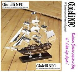 Sailing Ship Bounty And039703 1/2in35hx37l With Hull In Legno-vele Trees Silver 925