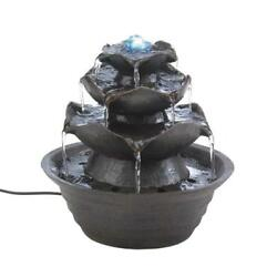 Lotus Bloom Tabletop Fountain Indoor Home Decor Calm Design Tranquil Garden LED