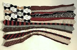 Handmade American Flag Made Out Of Men's Neckties Each One Is Unique Rwb1