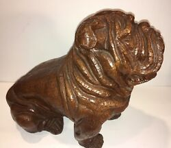 RED MILL BULL DOG Statue 902 Crushed Pecan Shell Resin BIG Large 12 inch VTG