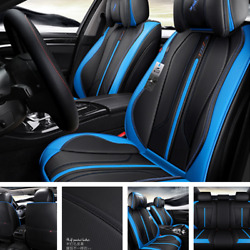 Car Seat Cover Leather 5 Seats Auto Front+Rear Cushion Protector Fit Four Season