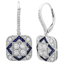 1.37 Ct 14k White Gold Natural Round Diamond Blue Sapphire Square Drop Earrings