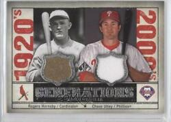 2008 Sp Legendary Cuts Generations Dual Memorabilia Chase Utley Rogers Hornsby