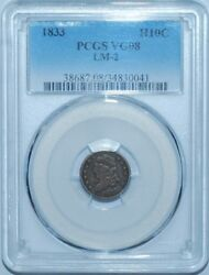 1833 Pcgs Vg8 H10c Lm-2 R.7 Capped Bust Half Dime Less Then 12 Known