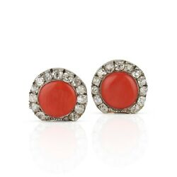 Antique 14k Salmon Coral And Old Cut Diamond Shell Earrings