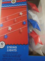 Patriotic Star String Lights  Red White and Blue Plug-In Decorative Lights 3 x 3