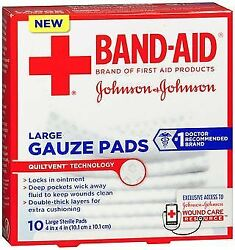 Johnson And Johnson Red Cross First Aid Gauze Pads 4x4 - 10 Ct Pack Of 6