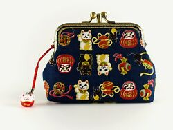 Handmade Twin Compartment Japanese Lucky Cats Coin Purse Collectable 0167